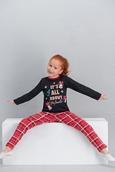 Minnie Mouse Minnie Mouse Lisanslı Ekose Siyah Kız Çocuk Pijama Takımı Siyah